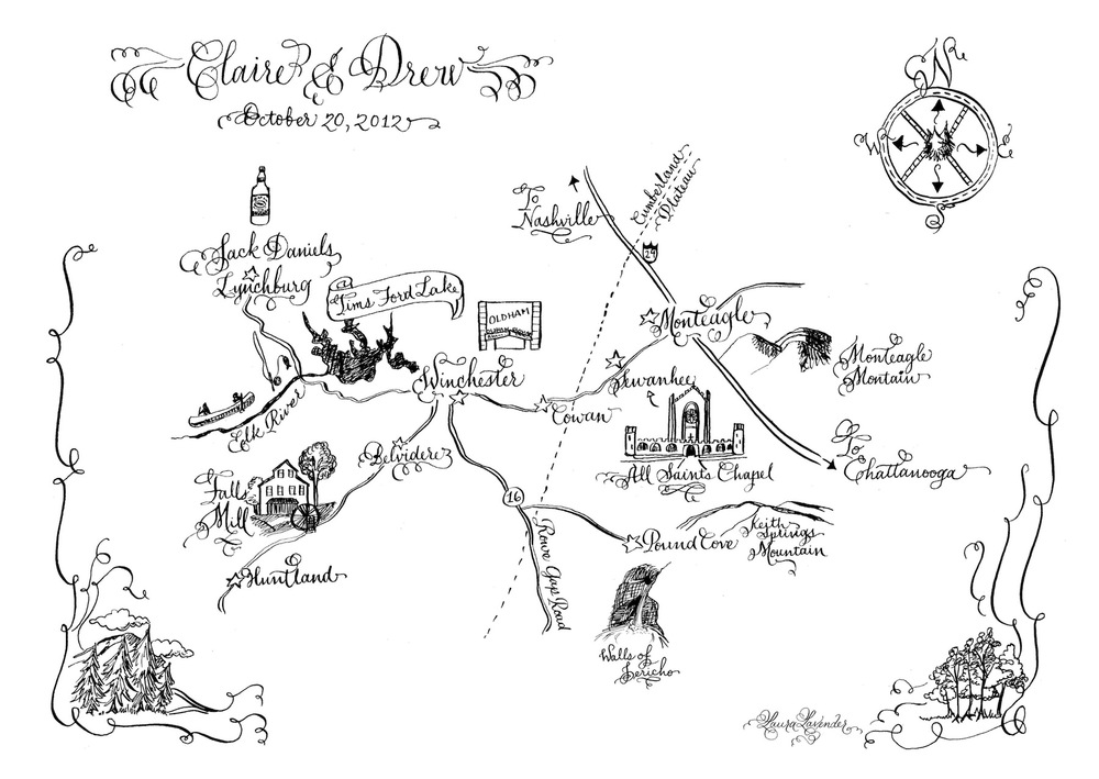 laura lavender calligraphy map