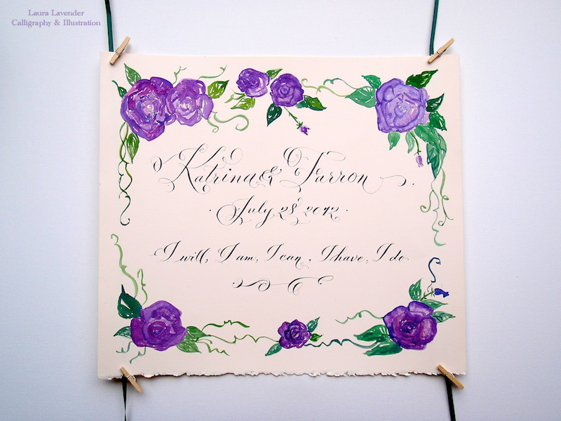 laura lavender calligraphy