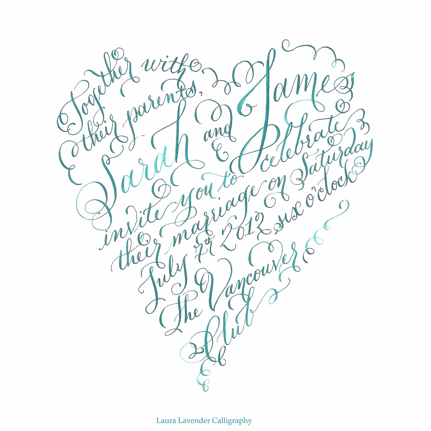 lauralavendercalligraphy - heart shaped invite calligraphy hand lettered vancouver bc canada