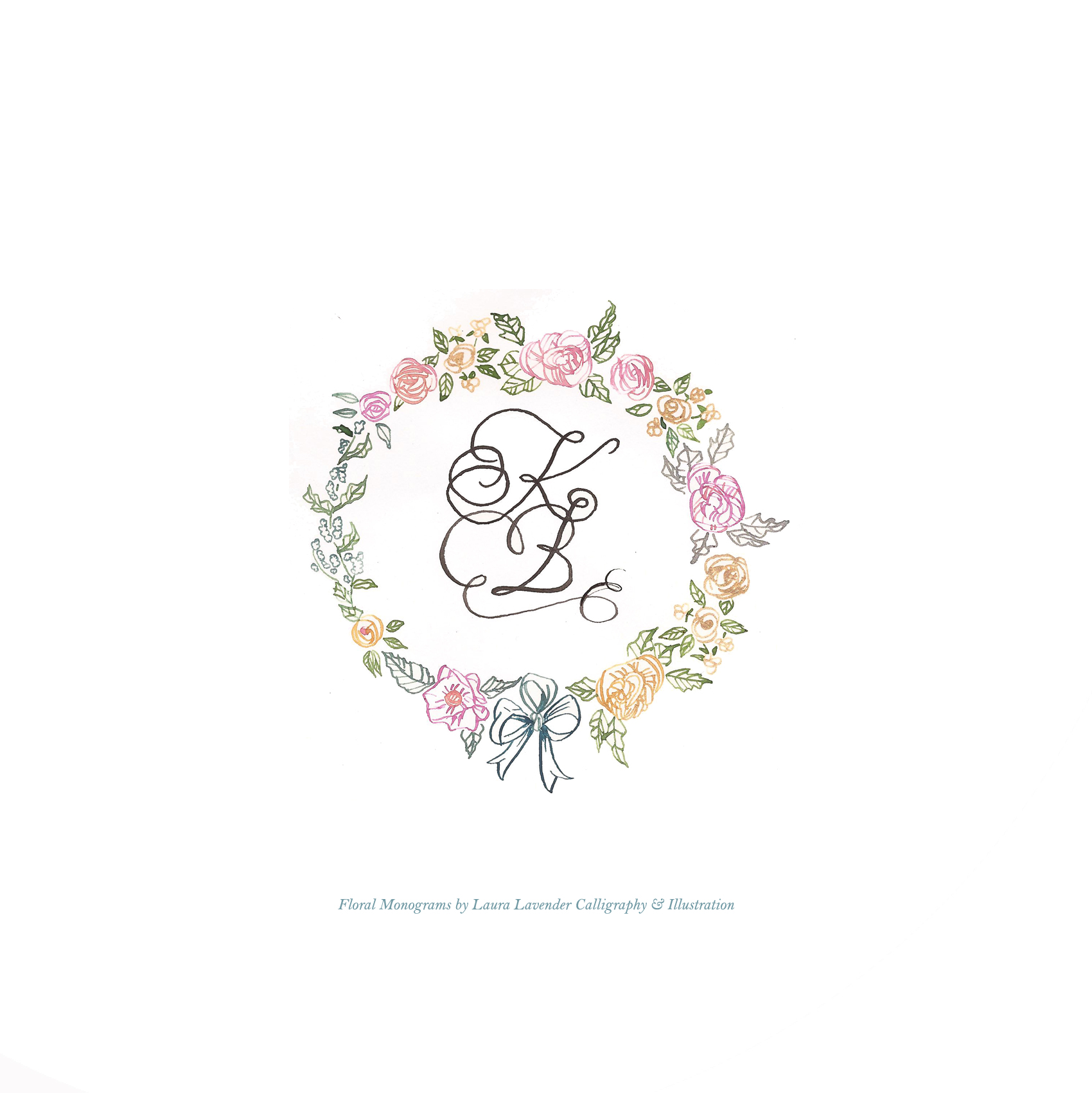 calligraphy hand lettered flower monogram laura lavender