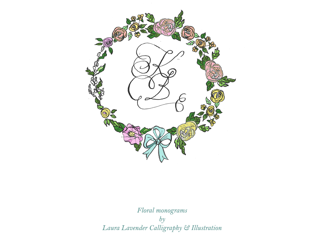Laura lavender Calligraphy hand lettered monogram with flowers floral