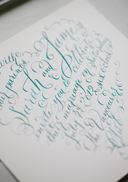 lauralavendercalligraphy - heart shaped invite