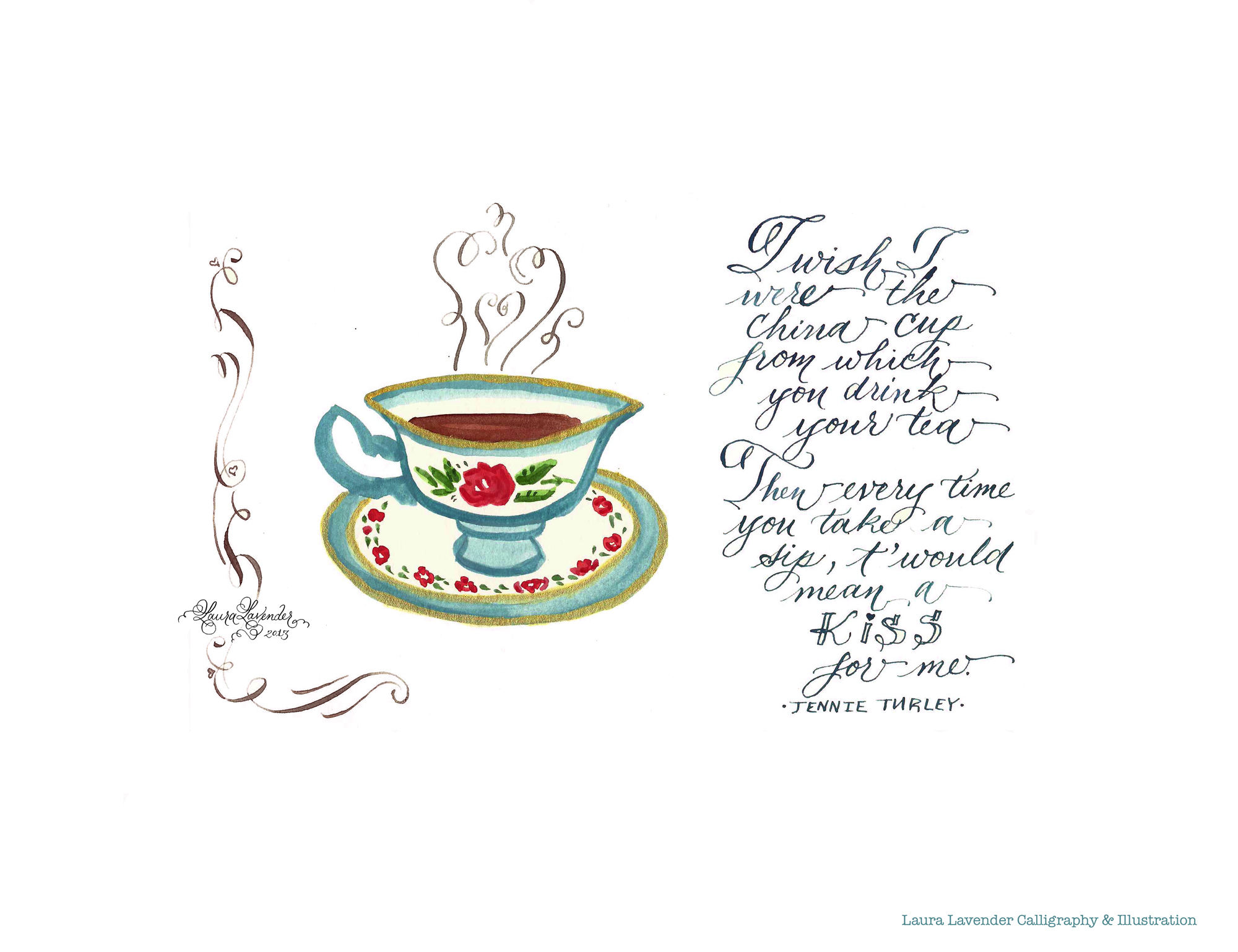 teacup tea love poem illustration calligraphy
