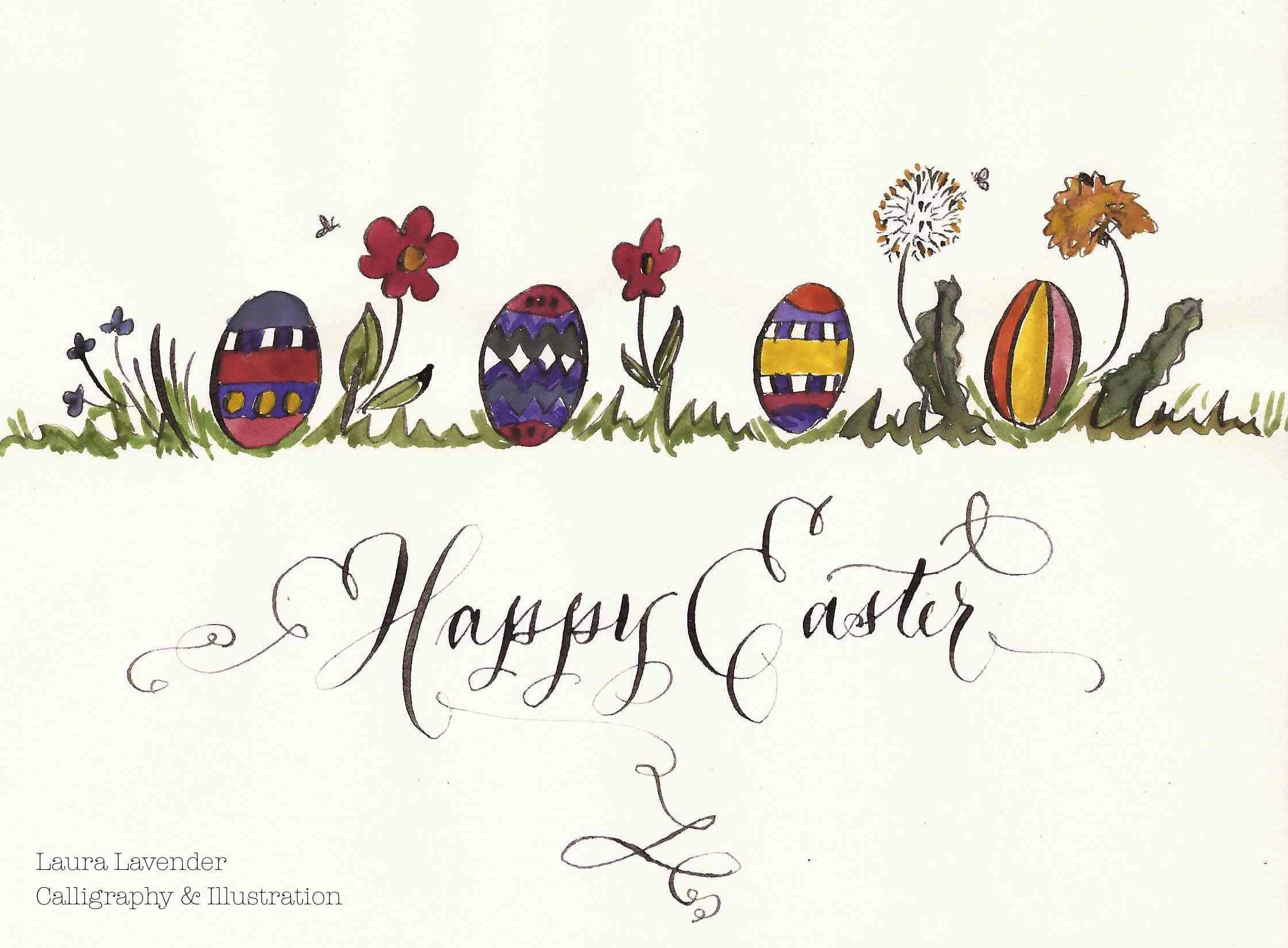 illustration calligraphy easter laura lavender
