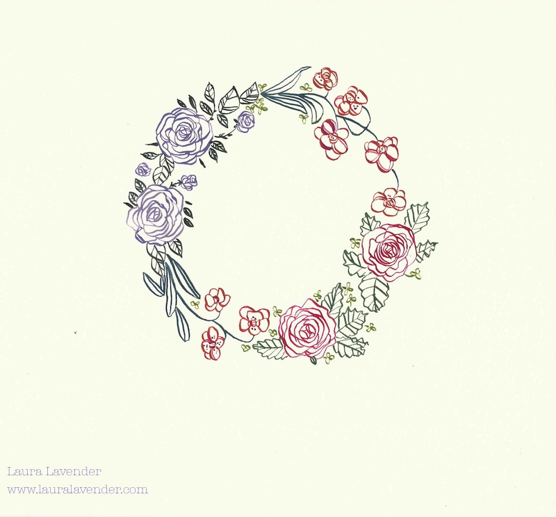 laura lavender calligraphy illustration flower wreath floral roses orchids