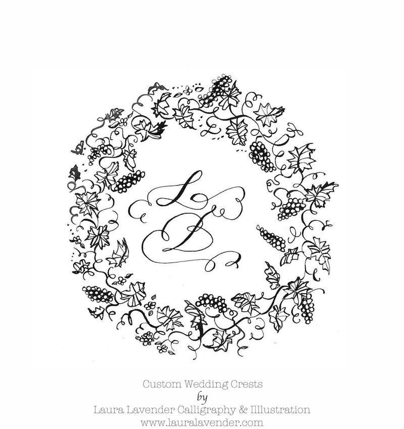 wine grapes vineyard calligraphy wreath MONOGRAM