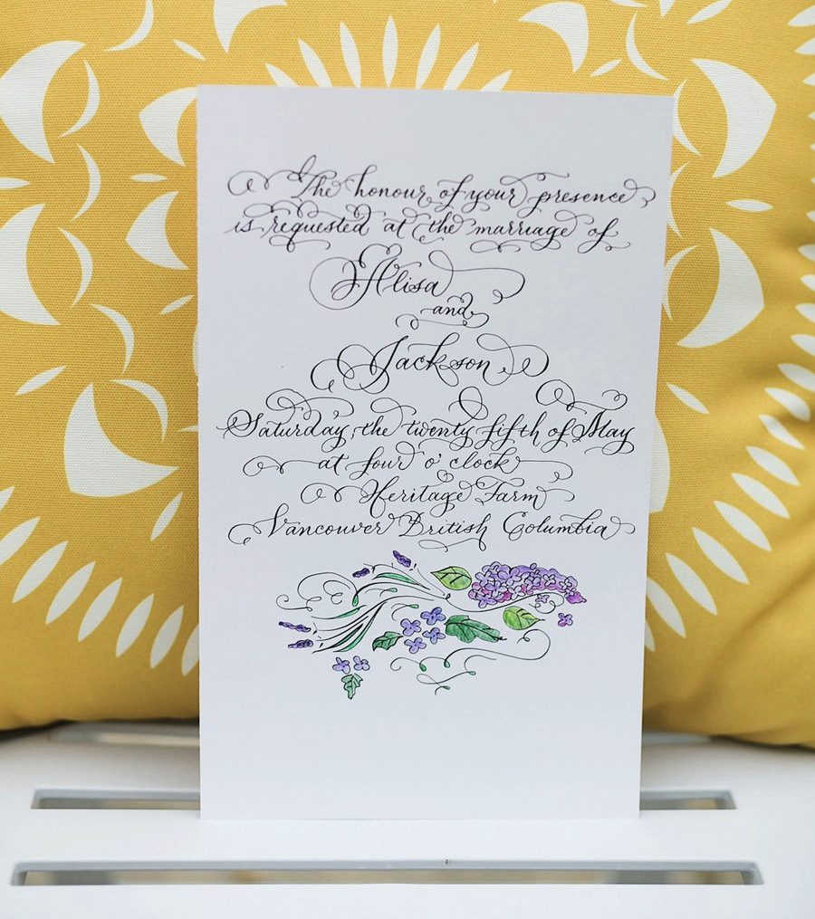 LAURA LAVENDER CALLIGRAPHY WEDDING INVITATION