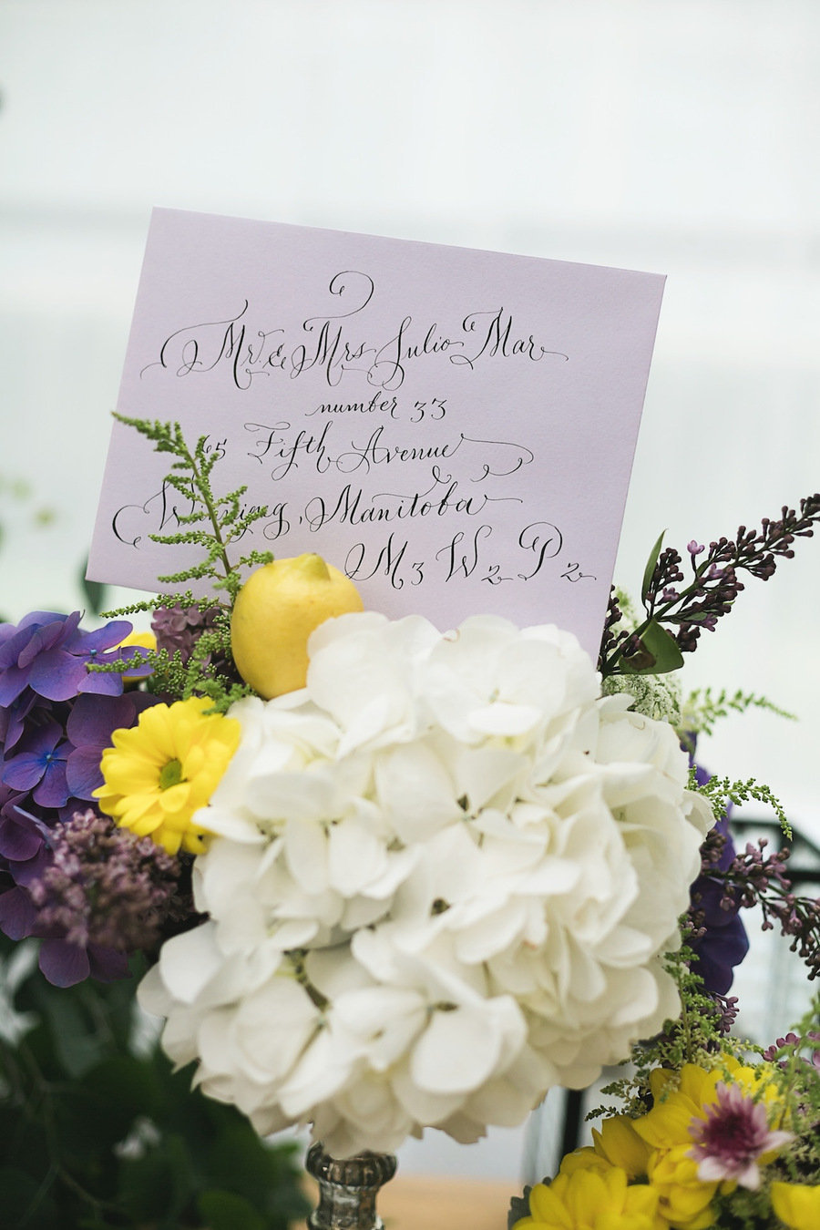 laura lavender Calligraphy envelope addressing