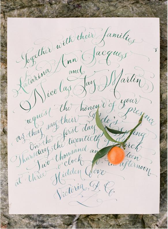 orange wedding calligraphy hand lettered laura lavender