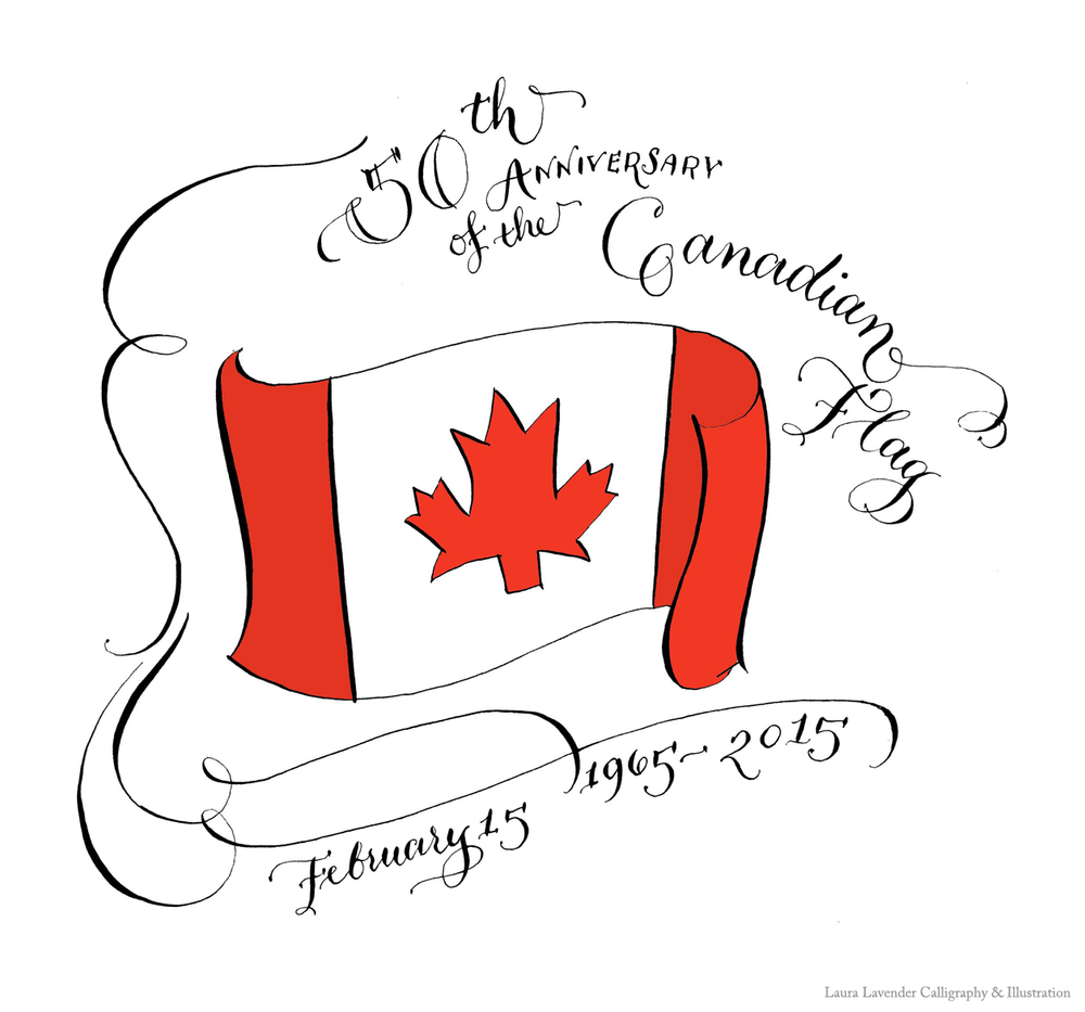It's the Canadian flags 50th anniversary today.  This doodle was done with pointed pen and ink and coloured in photoshop. I HEART PHOTOSHOP!