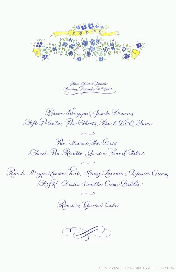 laura lavender calligraphy menu