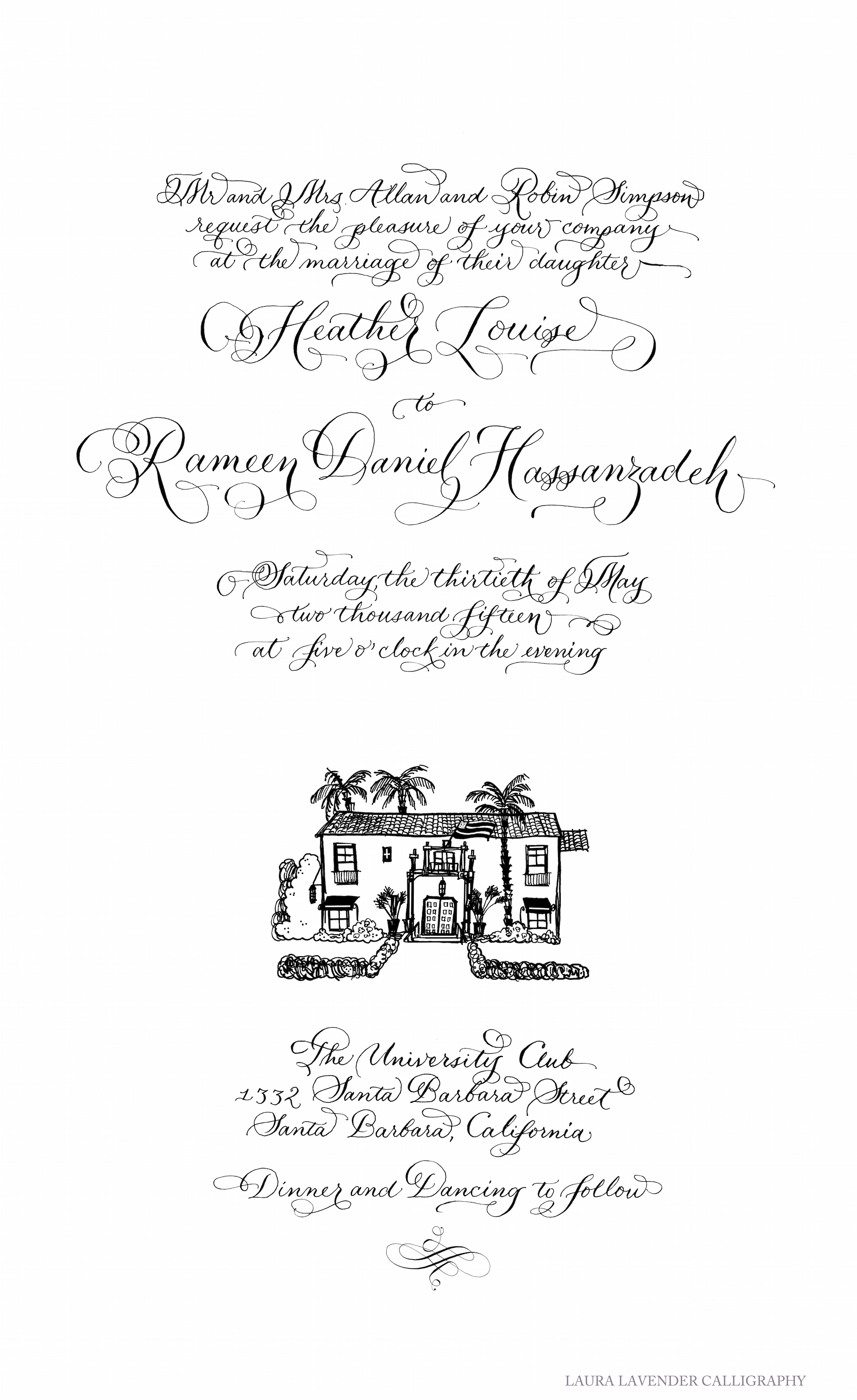 laura lavender calligraphy hand lettering wedding invitation design