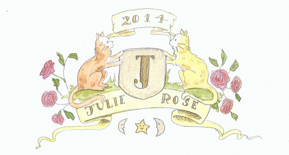 MODERN HERALDRY CREATED FOR A LITTLE GIRL; DRAWN IN PENCIL & FINISHED WITH WATERCOLOUR