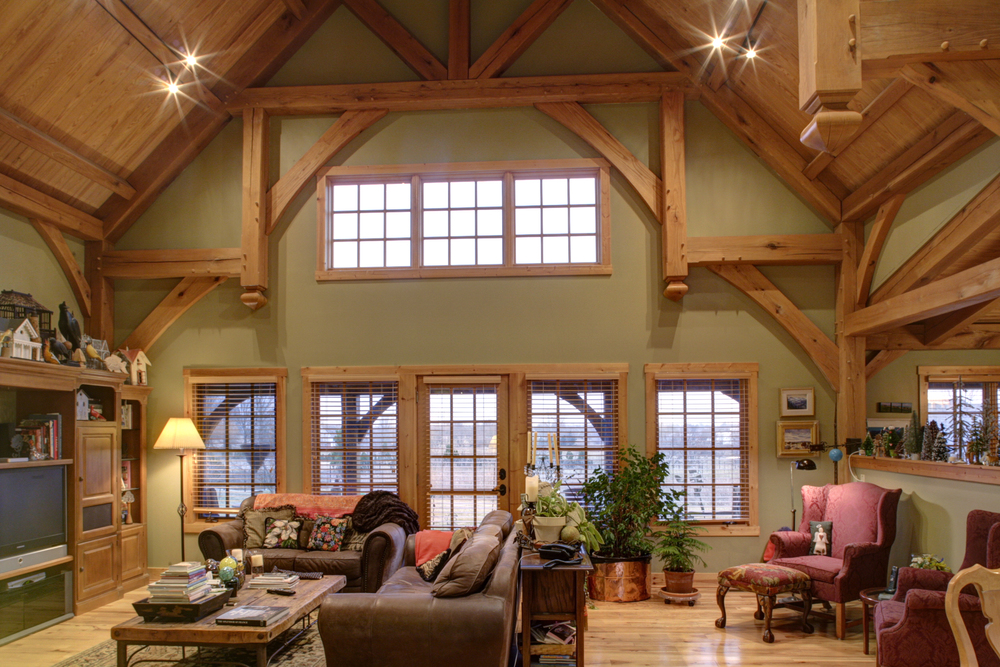 Oak timberframe post beam home for Living room with 9 foot ceilings