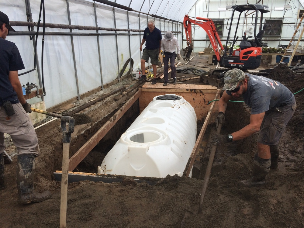 Above you can see the depth and plywood we had to put up in order to save from soil collapsing. Next was securing the tank to concrete + rebar. The water went up almost halfway the next day!