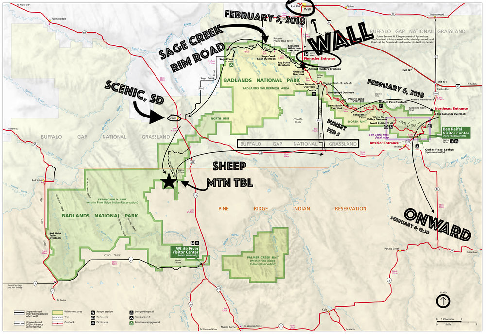 Annotated map of our trip through Badlands National Park