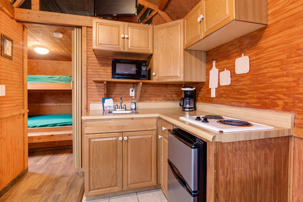 The partial kitchen, featured here, includes a small refrigerator, two burner cooktop, microwave, sink, toaster, and coffee maker. Through the doorway, you can see the bedroom.