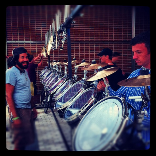 "Setting up ""The Rack"" for the drum feature of the 2012 season."