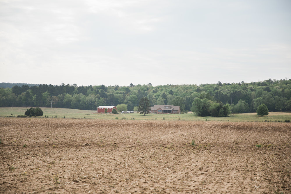 The Thrash's home looks out over one of their fields.