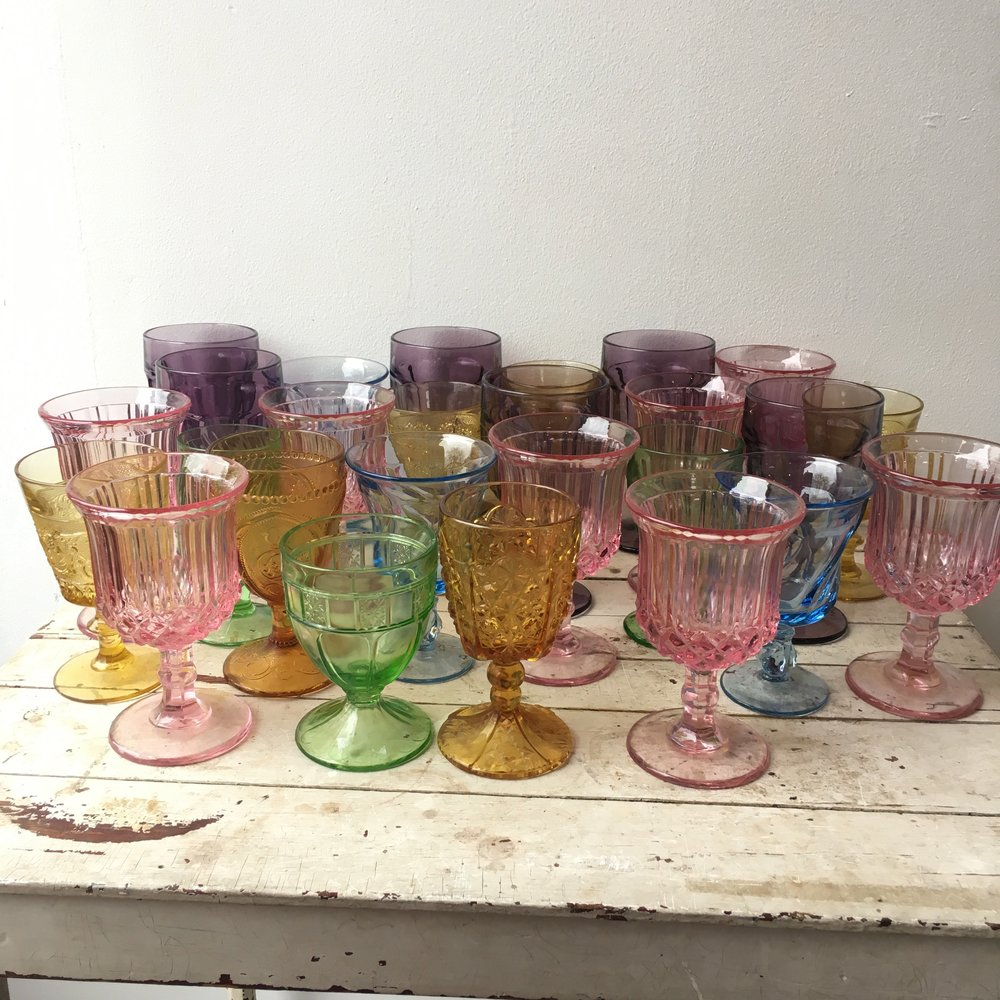 Variety of Vintage Colored Goblets