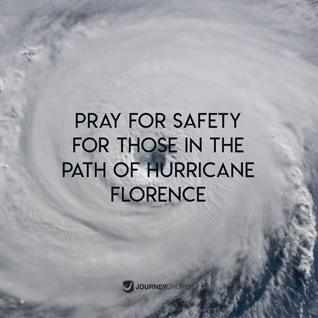 Our prayers go out to those who are being affected by Hurricane Florence. Please take a few minutes of your day to pray for God's protection and provision for the people and cities who are being evicted.