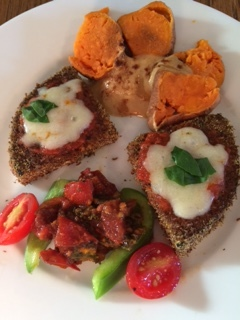 Healthified Eggplant Parm with sweet potatoes, tahini, extra veggies, and a tomato-kale-balsamic reduction chutney
