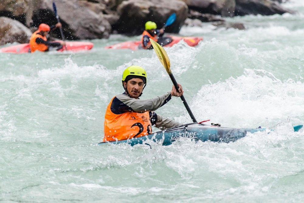 Rishi Rana - Rishi Rana has been kayaking the upper reaches of Ganga for over half a decade now. Having developed his Kayaking skills on his home turf in Rishikesh, as well as through Kayaking competitions, Rishi has over 15 medals to his credit and won the title of best Indian paddler male at the Ganga Kayak Festival 2016 and 2018.