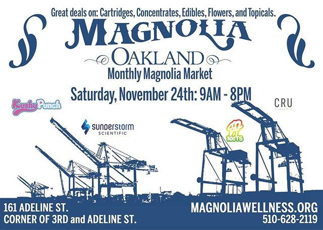 Our Magnolia Market is tomorrow! Tons of BOGO deals, dabs, 10 foot volcano bags and samples! Deals going on all day long. While supplies last, some limits may apply.  #meetatmagnolia #youroaklanddispensary #magnoliaoakland #magnoliawellness #westoakland #oakland #hightimes #magnoliamarket #magnoliafarmersmarket