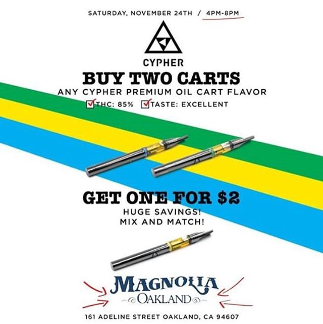 Deals going on all day!! Don't miss out.  #meetatmagnolia #youroaklanddispensary #smokeweedeveryday #magnoliamarket #magnoliafarmersmarket #magnoliaoakland #420 #710 #deals #oakland #westoakland #townbidness #510 #cartridges #topshelf #edibles #dabs #samples #magnoliawellness