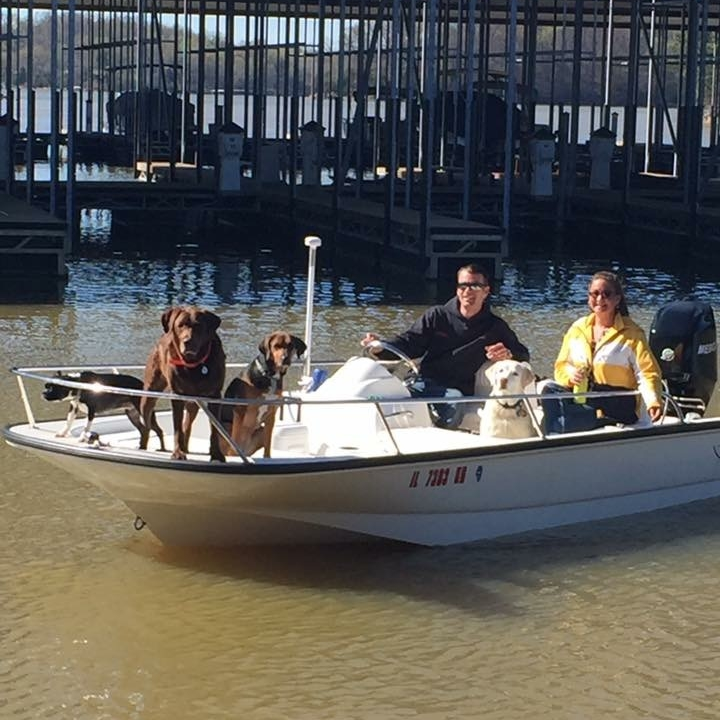 "Owners Chase and Crystal Schrecker with some of the ""Dock 3 Babies"" at Lake Barkley Marina"