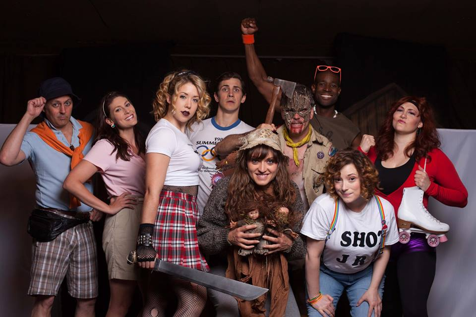 Cast of SLASHED! THE MUSICAL featuring Curt Bonnem, Clarke Wolfe, Kristyn Evelyn, Timothy Nathan Kopacz, Fayna Sanchez, Sean Keller, Acquah Dansoh, Mary O'Neil, Elissa Wagner. Photo by Ama Lea.