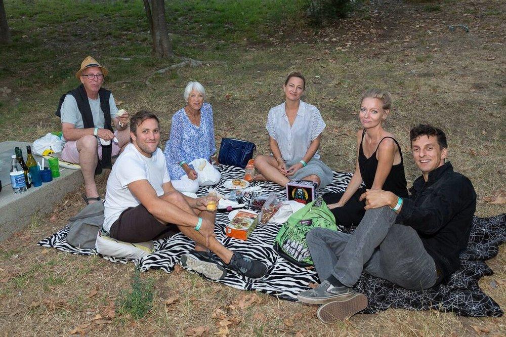 Zoë Bell center (with her family on left), filmmaker Axelle Carolyn and filmmaker Gez Medinger on the right
