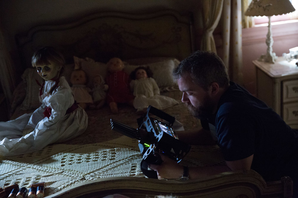 Director David F. Sandberg on the set of New Line Cinema's supernatural thriller ANNABELLE: CREATION, a Warner Bros. Pictures release. (Photo Credit: Justin Lubin)
