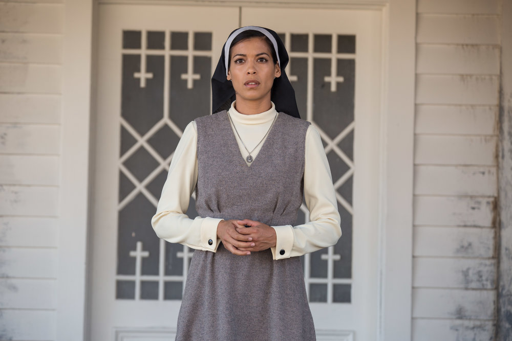 Stephanie Sigman as Sister Charlotte in New Line Cinema's supernatural thriller ANNABELLE: CREATION, a Warner Bros. Pictures release (Photo Credit: Justin Lubin)