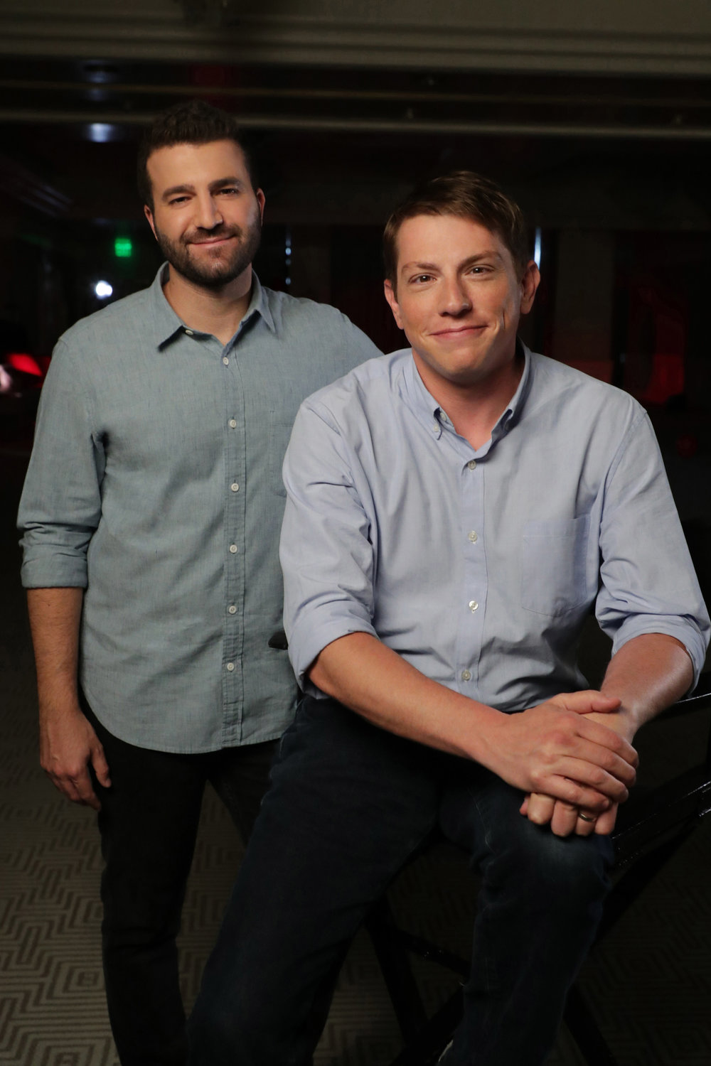 "(L-R) Producers David Katzenberg and Seth Grahame-Smith on the set of New LIne Cinema's horror thriller ""IT,"" a Warner Bros. Pictures release (Photo Credit: Eric Charbonneau)"