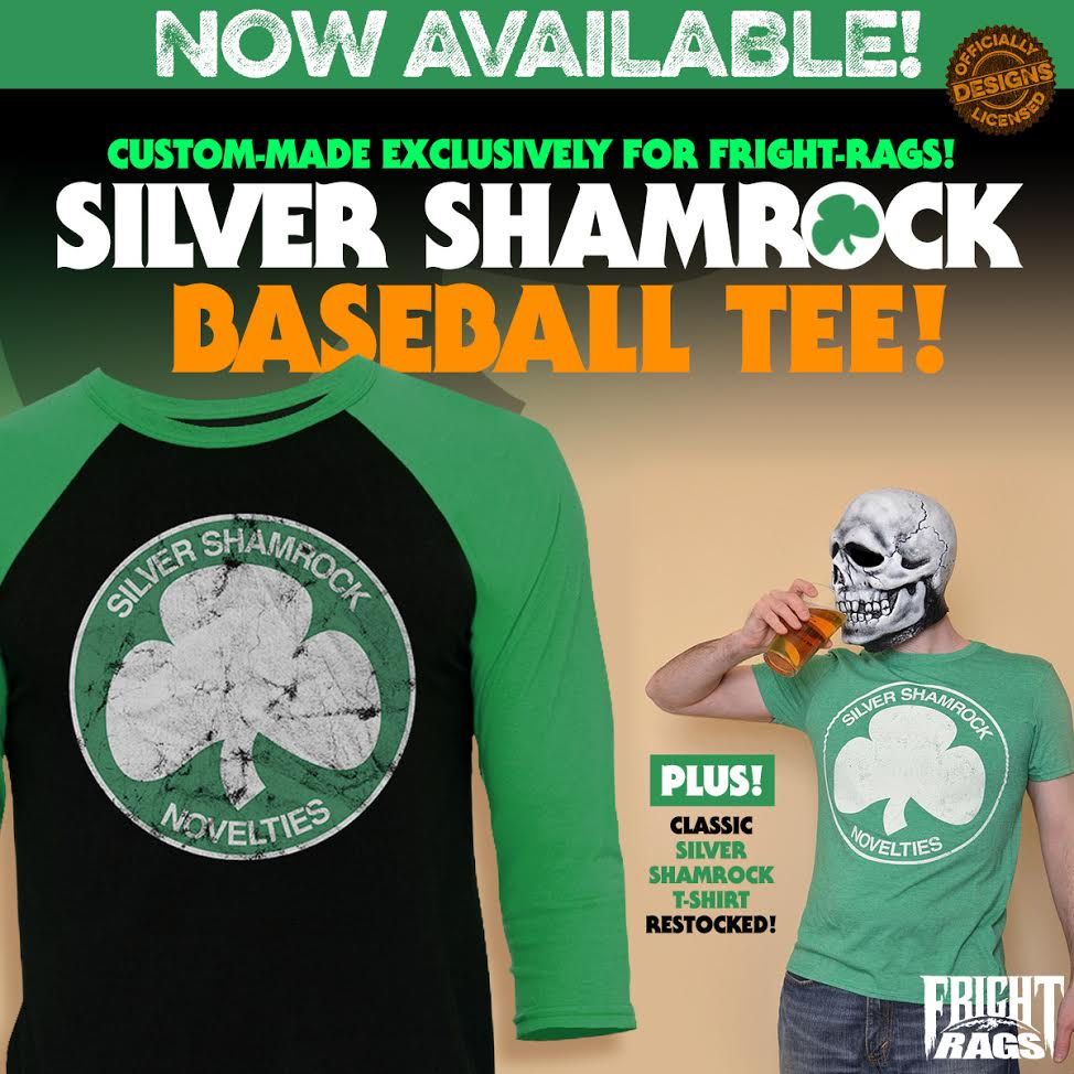 with st patricks day right around the corner fright rags has put halloween iii season of the witchs silver shamrock emblem on a custom made baseball