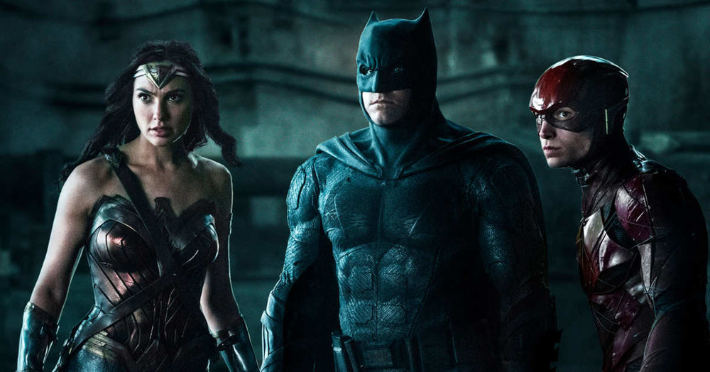 Gal Gadot as Wonder Woman, Ben Affleck as Batman, and Ezra Miller as The Flash in JUSTICE LEAGUE