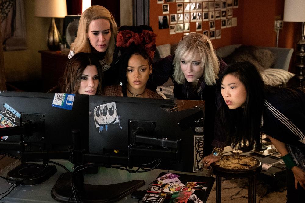 (L-R): Sandra Bullock, Sarah Paulson, Rihanna, Cate Blanchett and Awkwafina in OCEAN'S 8 | Photo courtesy of Warner Bros. Pictures