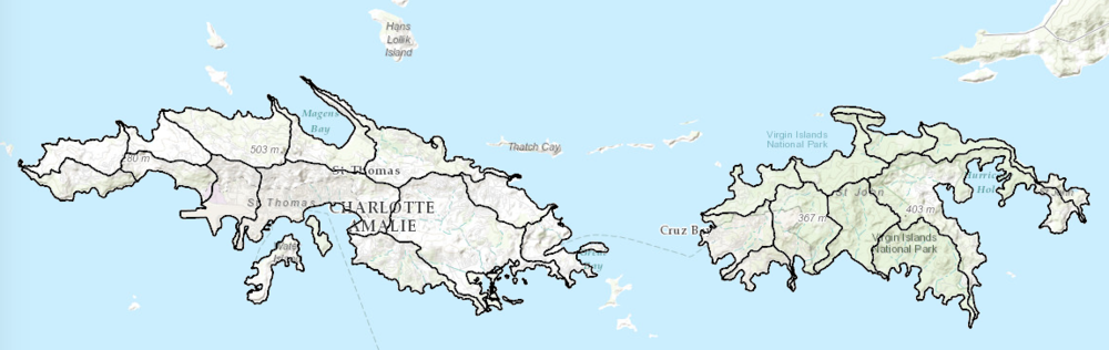 Watersheds map for St. Thomas & St. John, U.S.V.I.
