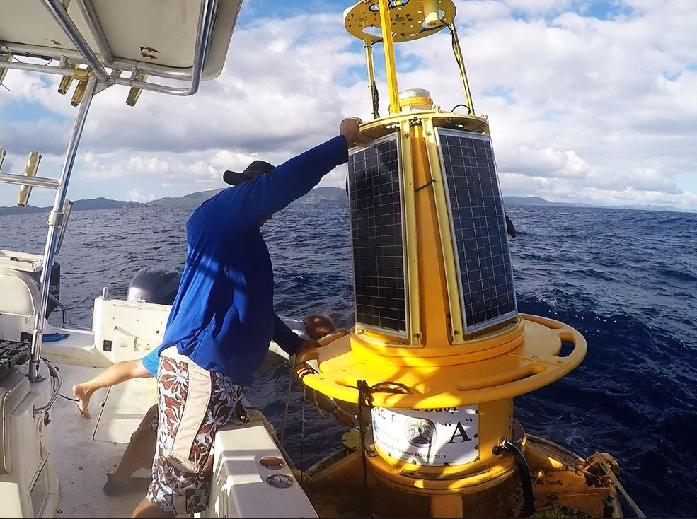 Drs. Sennai Habtes and Paul Jobsis, CMES Director, perform routine maintenance on the CARICOOS buoy offshore south of St. Thomas.