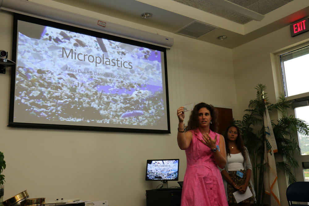Thanks to an  award  from the National Oceanic and Atmospheric Administration's (NOAA) Marine Debris Program, Danie had the opportunity to discuss concerns about microplastics with participants at a Marine Debris Educators Workshop which took place at UVI this fall. She is accompanied by Mara Duke.
