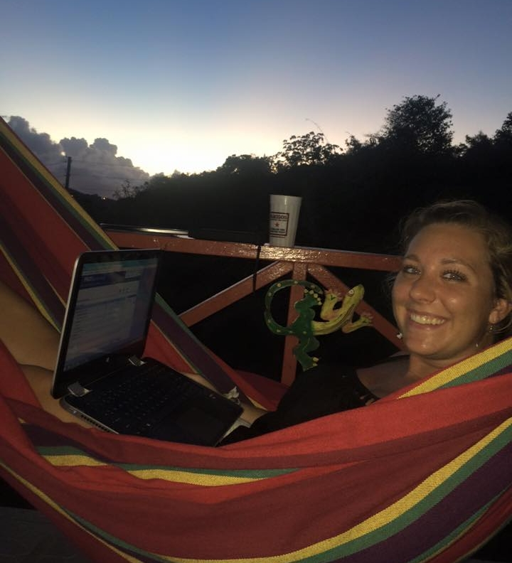 When not in the field, Tanya takes her work to the hammock.