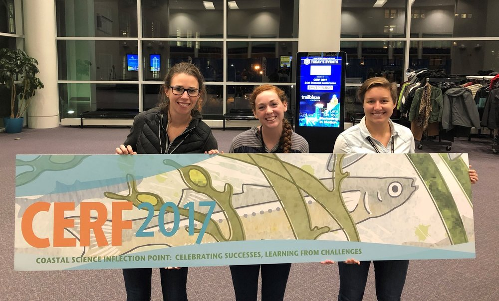 Seen here are Amelie Jensen, Allie Durdall and Sydney Nick at the CERF conference. Listed below are the topics presented by members of the UVI team.  Jensen*, A.E., K. Wilson Grimes^, E. Smith, M. Brandt^. 2017.  Variability in blue carbon storage in seagrass habitats of St. Thomas, U.S. Virgin Islands.  | Durdall*, A., S. Nick^, R. Nemeth^, K. Wilson Grimes^. 2017.  Great Pond, St. Croix, USVI: quantifying changes to a fish nursery habitat over 20 years.  | Nick^, S. and K. Wilson Grimes^. 2017.  Spatial and temporal trends of  Enterococcus  in the U.S. Virgin Islands.   | Wilson Grimes^, K., M. Brandt^, CJ Bucklin, N. Jones^, and M. Medina. 2017.  Supporting Emerging Aquatic Scientists (SEAS) Your Tomorrow: Engaging U.S. Virgin Islanders in the Marine Sciences.  | Wilson Grimes^, K., CJ Bucklin, S. Habtes^, H Forbes, Jr.^, M. Taylor^, C. Goodwin. 2017.  Efforts to Reduce Land-Based Sources of Marine Debris in the U.S. Virgin Islands.  | Wilson Grimes, K. 2017.  Weathering the Storms: Hurricanes Irma & Maria in the U.S. Virgin Islands.  Oral presentation,   invited  . |  *MMES student; ^UVI faculty/staff