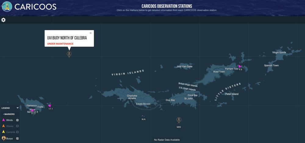 CMES works closely with CariCOOS, the Caribbean Coastal Ocean Observing System funded by the NOAA IOOS office    http://ioos.noaa.gov/   . Together they provide oceanographic data to the Territory and to our Puerto Rican neighbors at no cost to the public. The latest weather information for the Territory is available on their website   www.caricoos.org  .