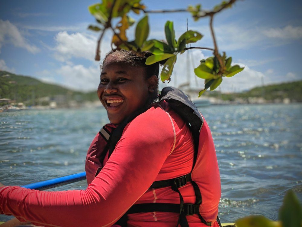 YOE student enjoying a day spent in the St. Thomas East Reserves kayaking and collecting GPS coordinates of derelict vessels.