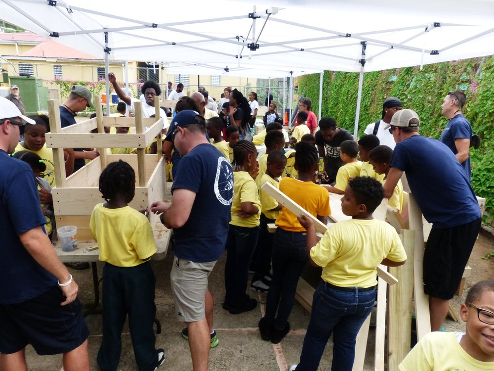 The EcoSchools program headed by Val Peters visited Jane E. Tuitt Elementary School to facilitate a garden installation on October 5, 2018, which will allow students to grow their own nutritious food on-site. This event demonstrates the community effort needed to improve life for us all.