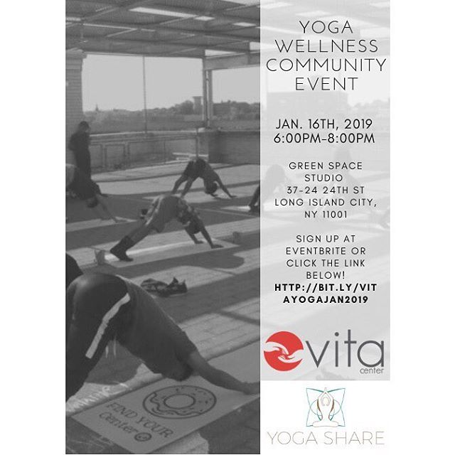 Vita center and Yoga Share are excited to bring you the yoga community event on January 16th, 2019 from 6:30PM -8:00PM, we have two tickets left! - 🌹 Yoga has various physical benefits such as increasing blood flow, gaining muscle strength, improving flexibility and so on. Aside from physical benefits there are psychological advantages as well such as reduce in stress, increases serotonin levels and peaceful mind. Practicing different methods of self care is essential to one's well being. This event is free and open to all, join us for a day of mindful care. Sign up at the link in our bio! 🌹 #womanyouarevita