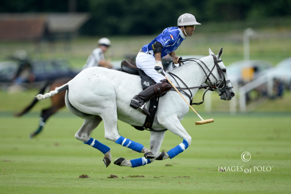 Juan Martín Nero storms the field for semifinalist Valiente in the 2016 British Open. Photo © www.imagesofpolo.com