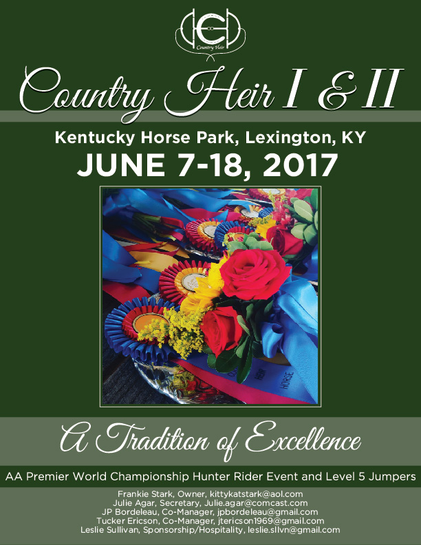 The Country Heir I & II prize list is now online.