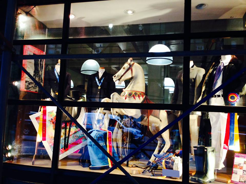 The original Miller's carousel horse is displayed in the window Photo courtesy of Manhattan Saddlery.